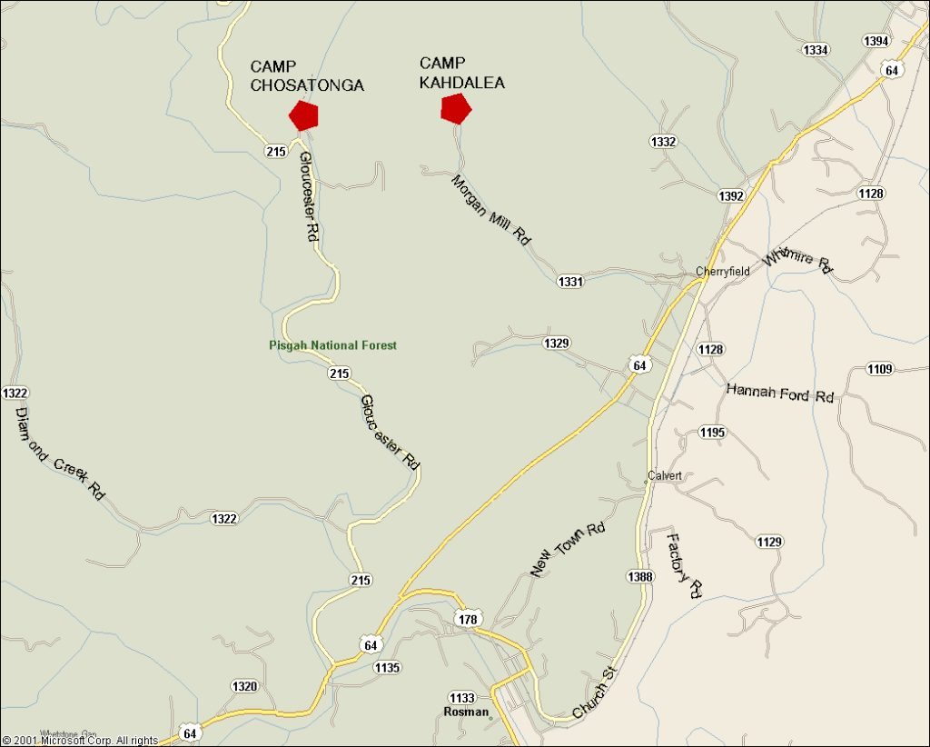 Close up of road map for camp's kahdalea and chostaonga